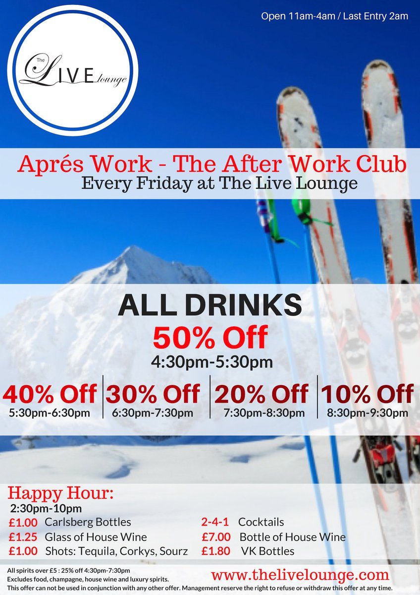 Get 50% off your #drinks from 4:30pm #today, with Après #Work - #TheAfterWorkClub! #HappyHour #offers inc. #241cocktails available until 10pm and #livemusic til midnight, with our headline #band on stage from 9pm! #Cardiff #FridayFeeling #Weekend #AfterWork #tonight #bogof #bar