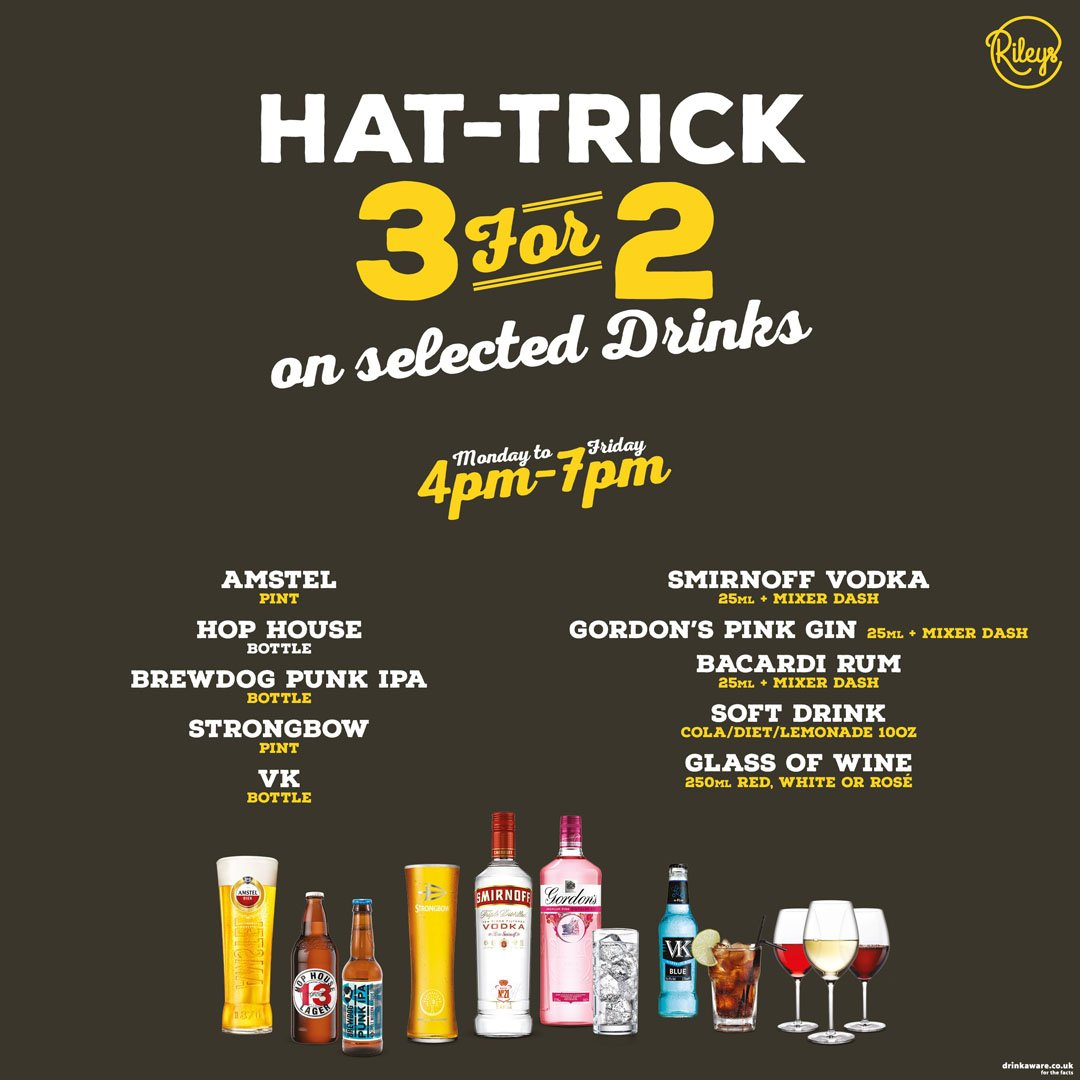 Friday Night's exist for a great Night out! 🕺  Enter the Weekend in the best possible way, by making the most of our Hat-Trick Happy Hour! 🍻  Enjoy 3 for 2 on selected drinks until 7PM‼️ #happyhour #3for2 #drinks