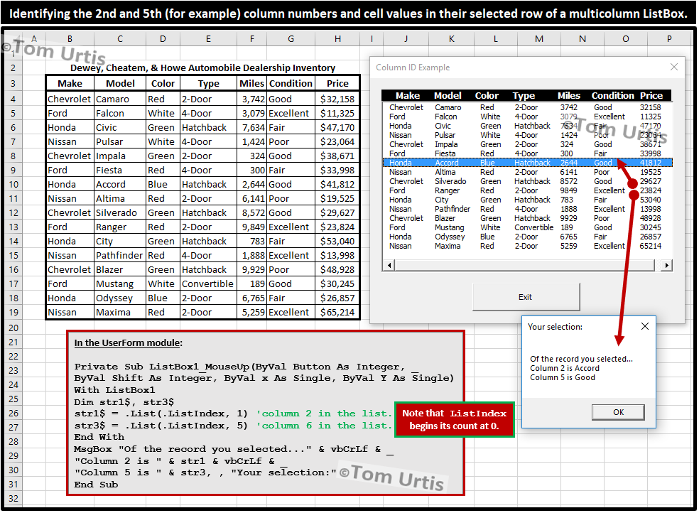 Identifying the 2nd and 5th (for example) column numbers and cell values in their selected row of a multicolumn ListBox. #Microsoft #Excel