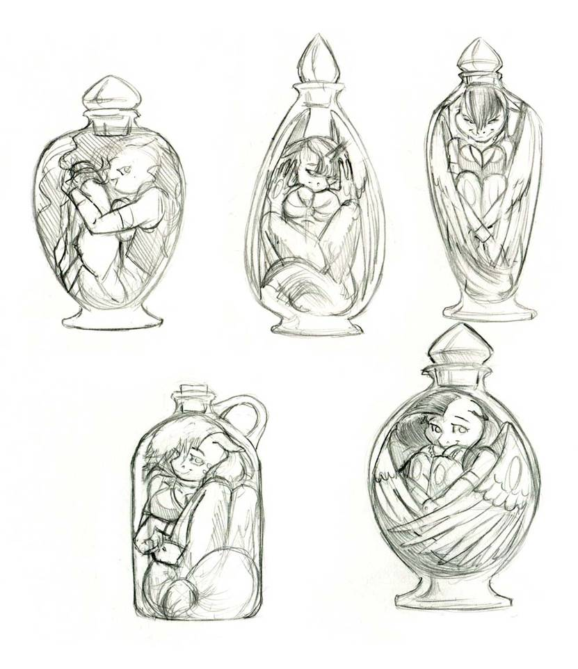 #MLP Recently I posted a drawing of #Anthro #Rarity in a #genie  bottle. Here's some rough thumbnails for the rest of the #ManeSix.   Tomorrow 7/20/19 starting at 5:30pm Pacific I'll be streaming on  https:// picarto.tv/baronengel     <br>http://pic.twitter.com/zVDjIFwK9Y