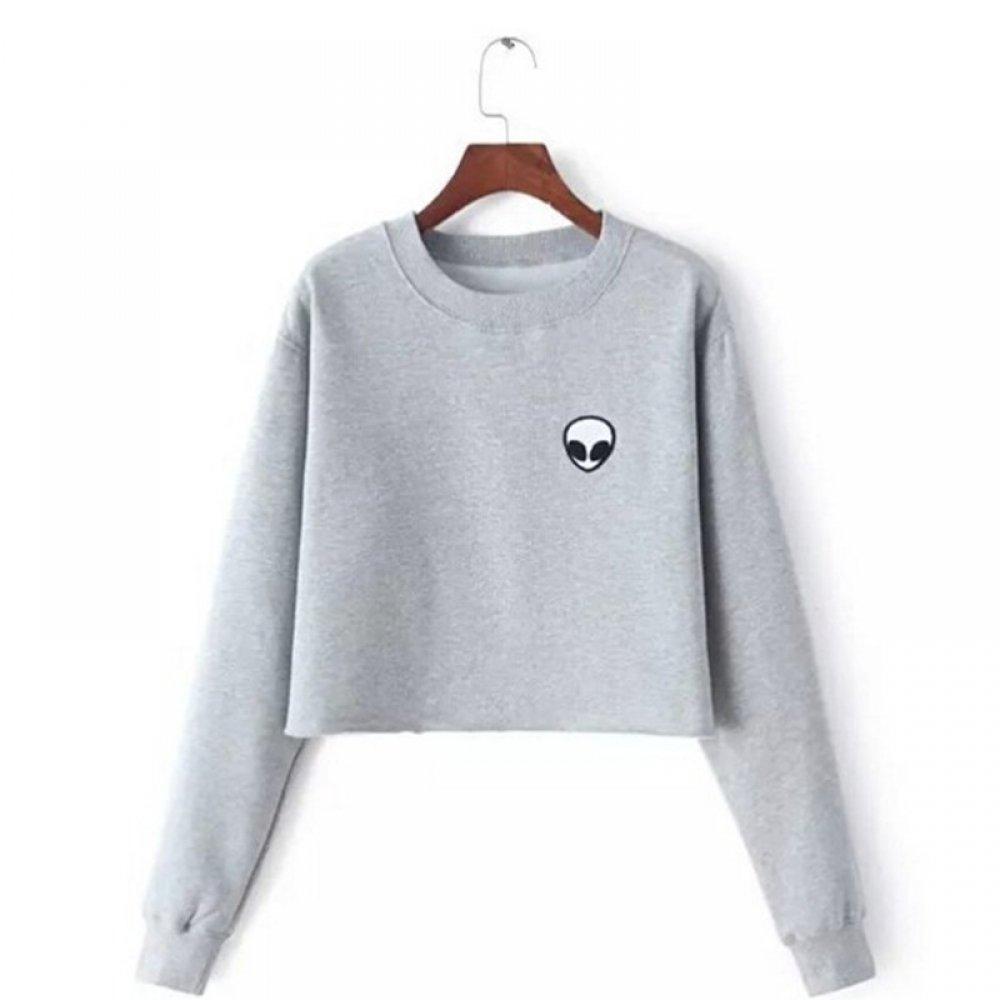 #instagood #beautiful Women's Short Fleece Sweatshirt with Aliens Print