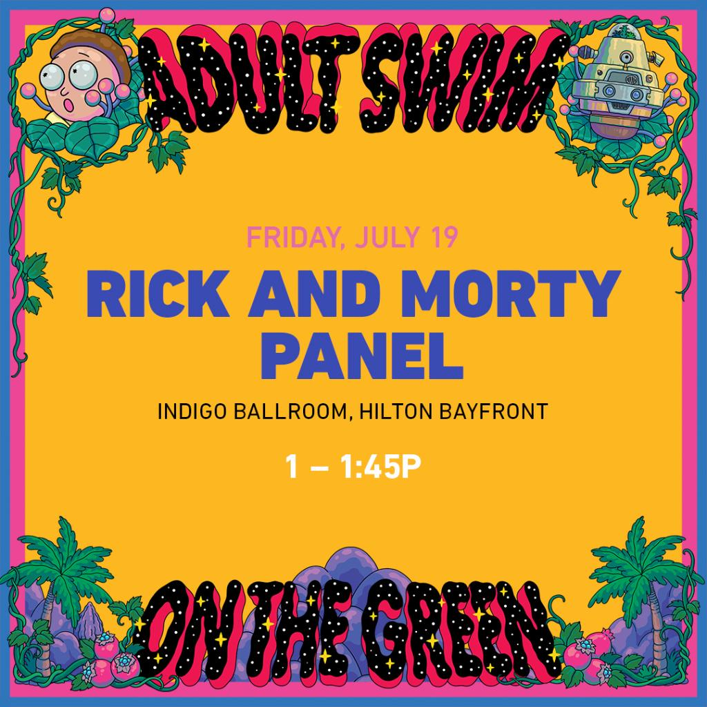 Catch #RickandMorty at #SDCC2019. Stream the #RickandMorty LIVE event Sat at 8:30pm PST on  http:// adultswim.com/streams     @JustinRoiland @spencergrammer @sarahchalke @RobSchrab<br>http://pic.twitter.com/ewlLpkECPp