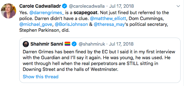 Congrats to @darrengrimes for winning his appeal. Nobody ever thought 22-year-old was mastermind of biggest electoral fraud in British history. He was used. He's protected the real perpetrators - including future PM @BorisJohnson. And every single one of them has got away with it