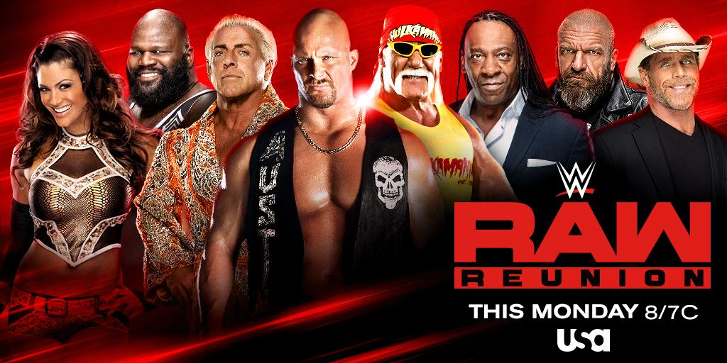 The Biggest Reunion in #WWE History is happening this Monday at 8/7c on @USA_Network. Don't miss it!