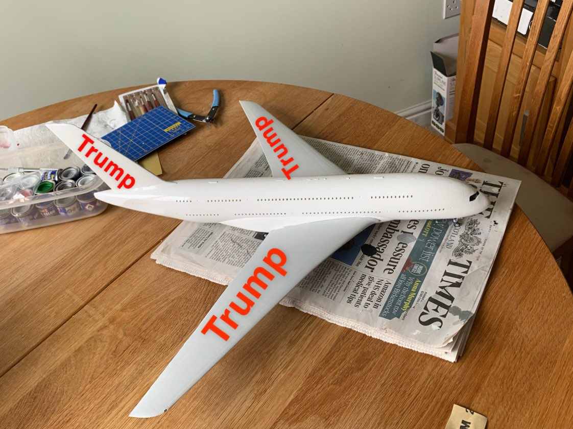 My brother in law building a model plane so I decided to decorate it for him. #TrumpAirlines #trump @realDonaldTrump @TeamTrump @IvankaTrump @EricTrump<br>http://pic.twitter.com/fWeqEWDVri