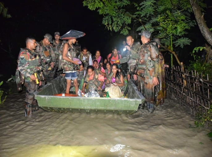 Indian Army: A large scale Flood Relief Operation is being carried out in flood-hit areas of Lower Assam by Indian Army Troops since 11 June 2019. In the last six days, a total of 488 civilians have been evacuated along with relief to 450 civilians.