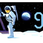 Image for the Tweet beginning: The Doodle has landed. 🌔