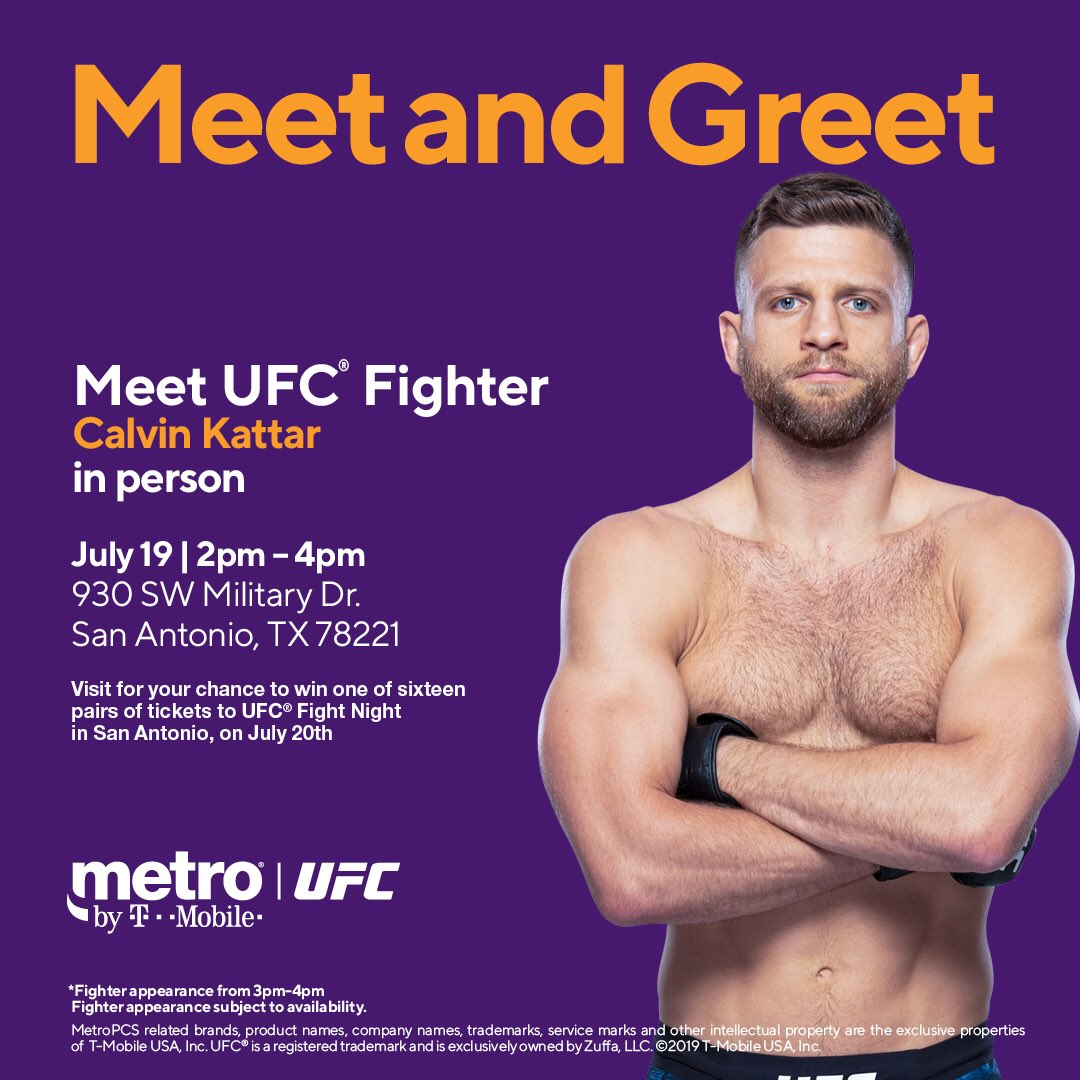 Excited to hang with you guys today at @MetroByTMobile (930 SW Military Dr)! Swing by for a chance to win #UFCSanAntonio tix! See ya'll in a few 🤠