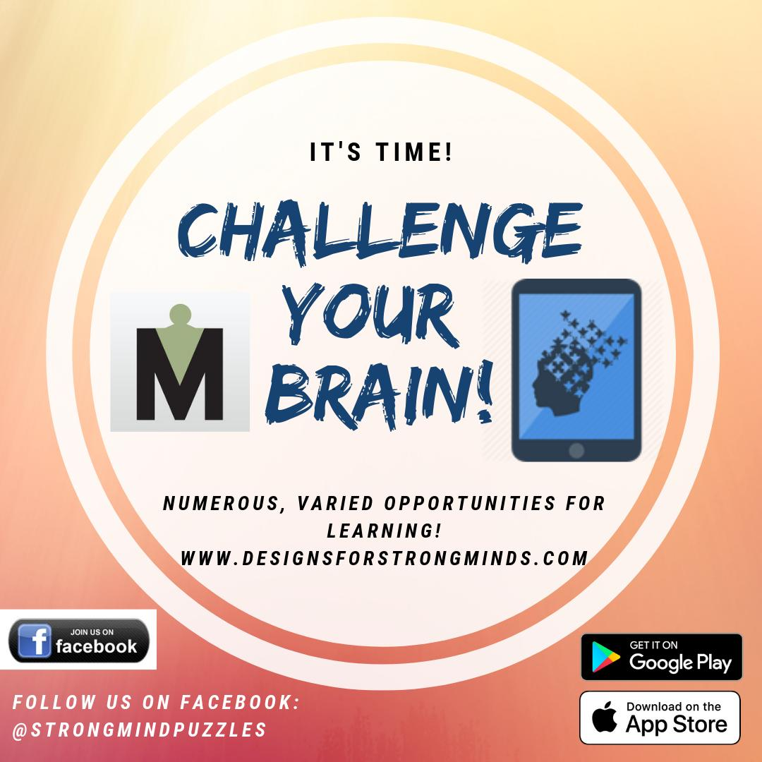 Designs for Strong Minds Puzzles are now available in Android AND iOS! Check out  https:// bit.ly/2QnEKnI     for details. Strengthen brain function while having fun.  . . . #braininjury #concussion #optometry #neuroscience #brain #alzheimers #aarp #stroke #dementia #rehabilitation<br>http://pic.twitter.com/vh3NTh2fJT