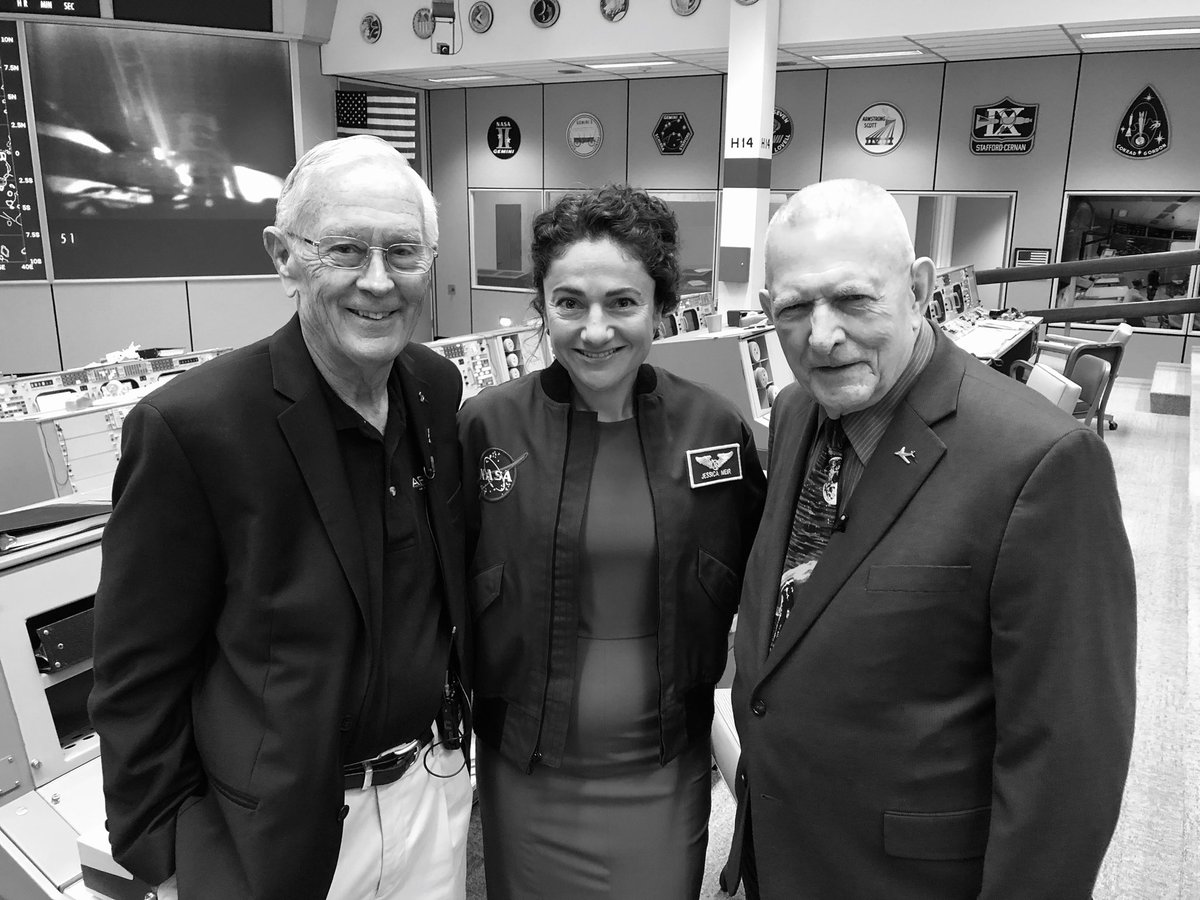 Yep, those are #Apollo legends Gene Kranz and Charlie Duke! Tune in in a few minutes to NASA TV! NASA's Giant Leaps: Past and Future. Watch online at nasa.gov/live