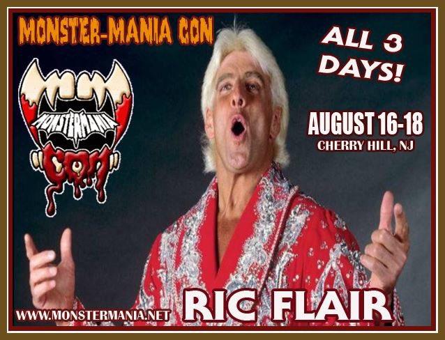 Woooo! @RicFlairNatrBoy joins @MonsterManiaCon the weekend of August 16-18 in Cherry Hill, NJ!  http://www. monstermania.net     #RicFlair #wrestling #WWE <br>http://pic.twitter.com/LFT52hXxr6