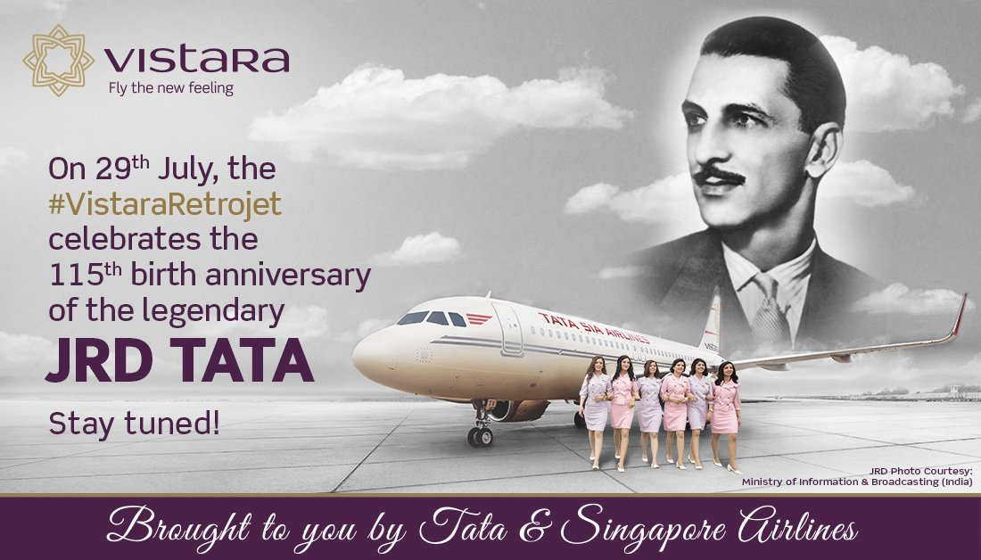 Stay tuned for something exciting coming up... @airvistara to celebrate 115th birth anniversary of JRD, the father of Indian aviation. #FIA #Legend