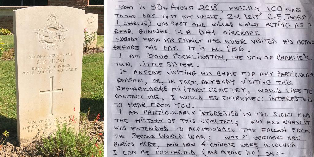 A member of our team in France recently visited the @CWGC's Charmes Military Cemetery and found this poignant note inside the register book – with social media now locating service records and a war diary . What is the most moving message you have seen left at a Commission site? <br>http://pic.twitter.com/GhUNMOGKh5
