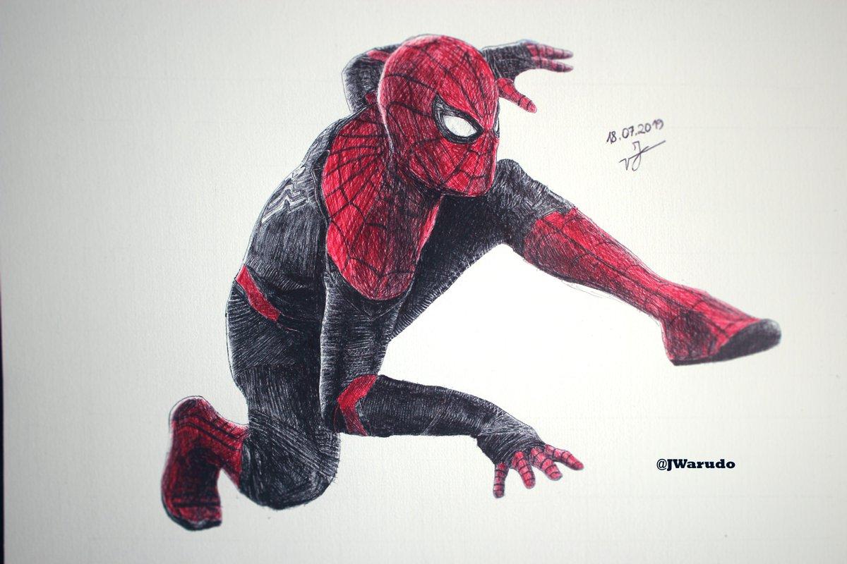 Spider Man in BIC pen ( Far from Home ) @TomHolland1996  #bic #pen #marvelcomics #MarvelLegends #SpiderMan #SpiderManFarFromHome #SpiderManIntoTheSpiderVerse #drawing #drawings #ArtistOnTwitter #art #artwork #AvengersEndgameSweeps #giornogiovanna #love