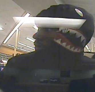 """We need your help to identify a man dubbed the """"Bandit Shark"""" who robbed the First Convenience Bank at 12620 Woodforest Blvd on Monday. He's a black male in his 20s, about 5'11"""", who wore a """"shark"""" hoodie. Call 713-222-TIPS. @CrimeStopHOU @houstonpolice @HCSOTexas #HouNews"""