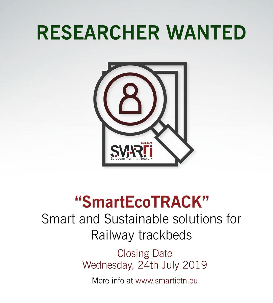 "#OPENCALL for a @MSCActions researcher under @smartietn project ""SmartEcoTRACK"", #Smart and #Sustainable solutions for #Railway trackbeds"", at the @UniofNottingham. Don't miss this great opportunity and apply until 24th July at https://bit.ly/2X8XHB5 ! #MSCAjobopportunity #H2020"