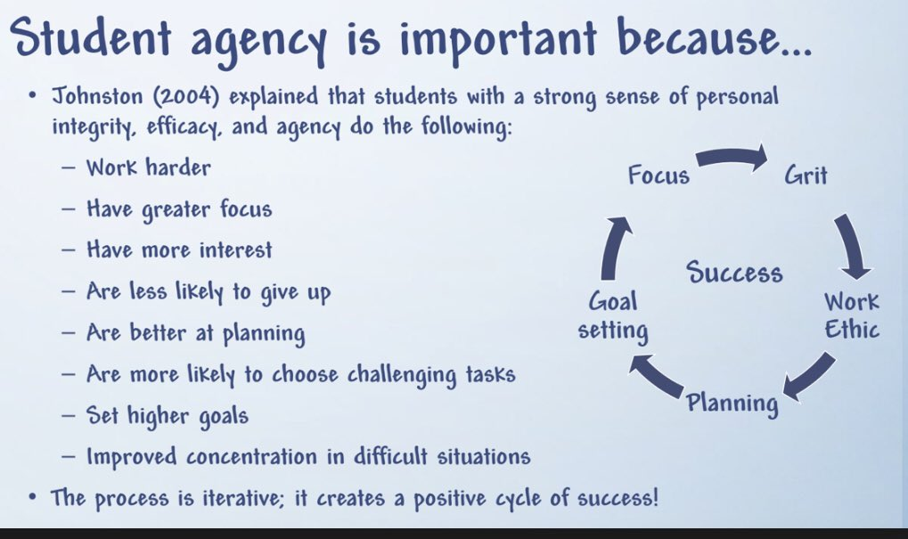 Why wouldn't we give student agency when we know this👇🏼 @MrsRackleyCCMS #NPC19