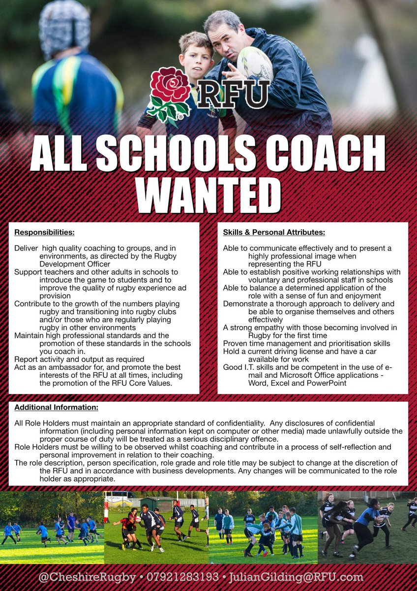 test Twitter Media - All Schools Coach(es) wanted  Exciting opportunities for a new casual coach(es) to work on our programmes in the Congleton and Crewe & Nantwich areas To Apply :- Send a Coaching CV and brief cover letter to juliangilding@RFU.com  For further information:- https://t.co/KmAZYizrri https://t.co/6ZfcTclCf4