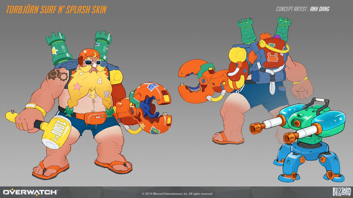 Torbjörn Surf N' Splash skin and weapon concept I made for this year's Overwatch Summer Games event. <br>http://pic.twitter.com/t450iHqvZm