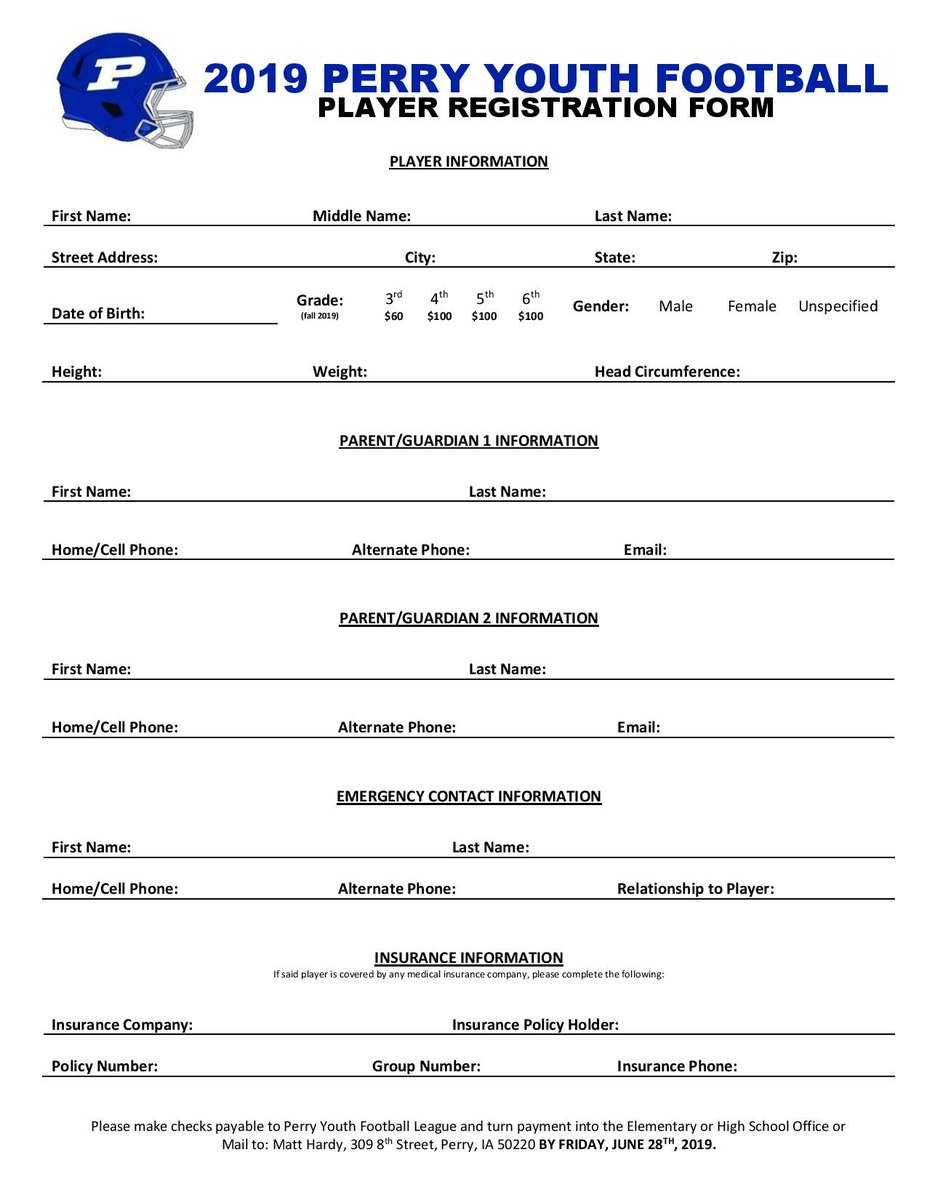 Perry Youth Football On Twitter We Are Excited To Have Four 5th Graders Registered To Play This Fall We Need Several Of Their Classmates To Join Them In 8 On 8 Tackle Football Please Youth football registration form template