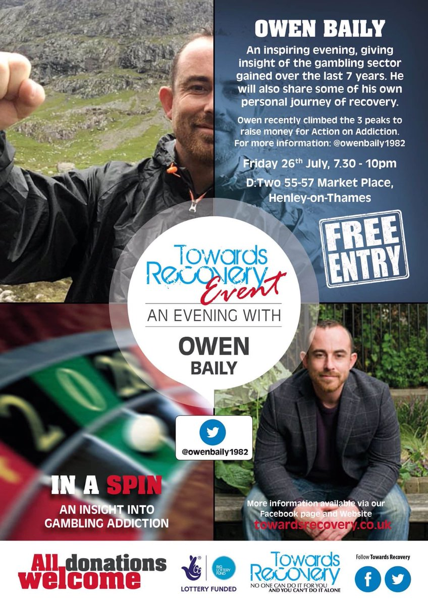 Looking forward to it @owenbaily1982 I think it's very timely to be covering gambling addiction as affects so many people