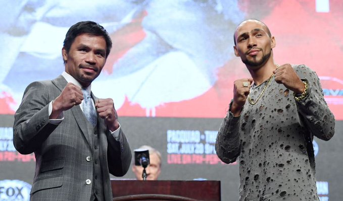 """Keith Thurman says beating Manny Pacquiao on Saturday will further his legacy.""""Manny isn't going to do anything. With the little 'T-Rex' arms. He's about to get beat up.""""In full: http://bbc.in/2GeALpJ#bbcboxing #PacquiaoThurman"""