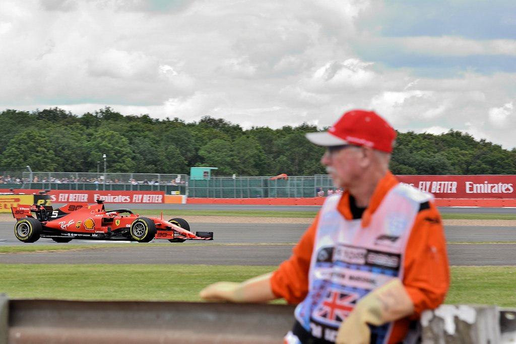 Sebastian Vettel during practice.  Thanks to the marshals who make it all possible! #BritishGP #mysilverstone @SilverstoneUK #Seb5