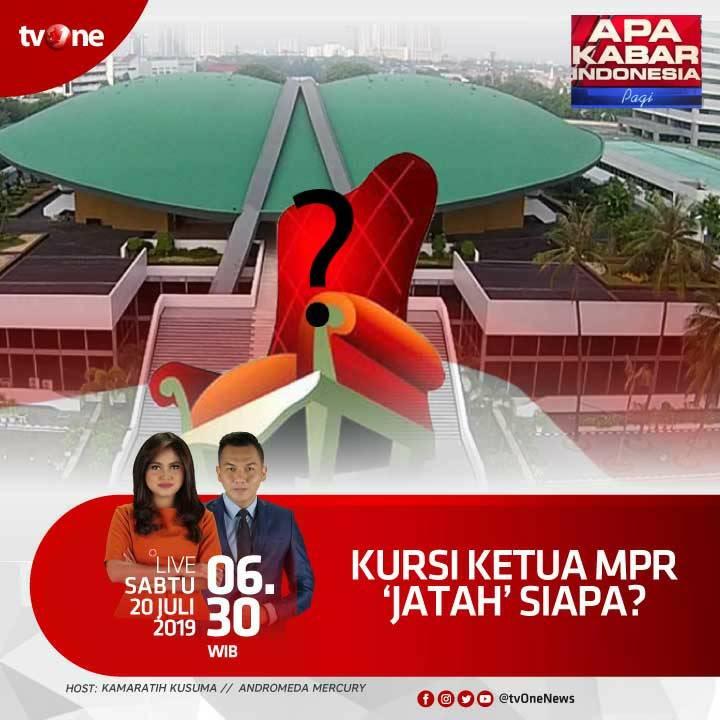 Kursi ketua MPR, 'jatah' siapa?Nantikan Apa Kabar Indonesia Pagi, LIVE jam 06.30 WIB hanya di tvOne & streaming di tvOne connect, android http://bit.ly/2CMmL5z & ios http://apple.co/2Q00Mfc #AKIPagitvOne