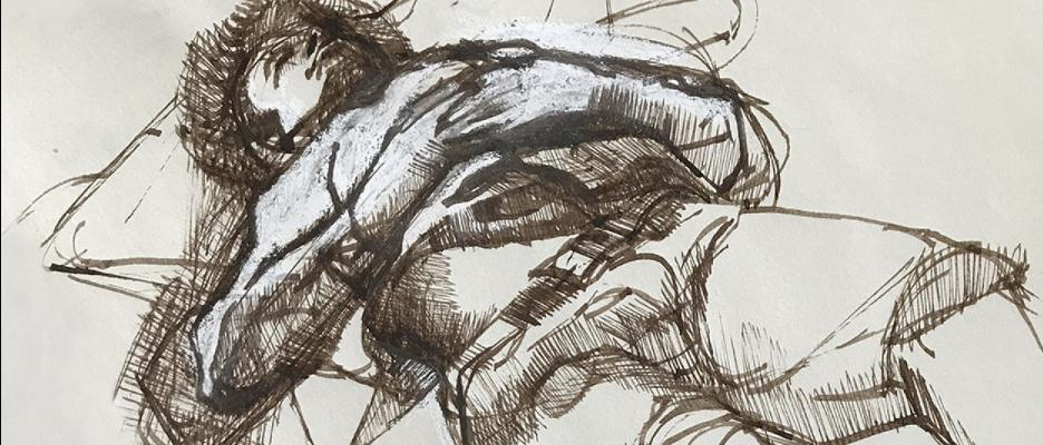 """Tomorrow at 2pm: join artist Linda Jacobson for a walkthrough of """"Life Model: Charles White and His Students"""" at Charles White Elementary School. https://bit.ly/2Z0tuBe  Linda Jacobson, Reclining Male Figure (detail), c. 1966–68, photo courtesy of the artist"""