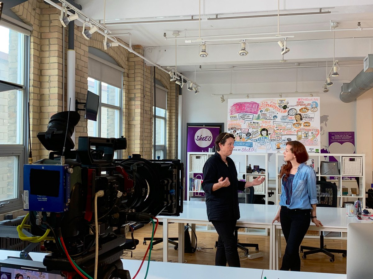 Exciting day at SheEO HQ today! @CBSInnovationTV team is here from LA interviewing SheEO Venture @TheAlinker for a special feature coming out this Fall. So excited for the world to learn about BE's story and life-changing invention. #InnovationNation #radicalgenerosity