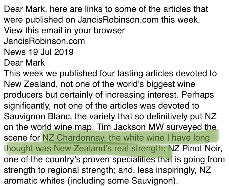"""NZ Chardonnay, the white wine I have long thought was New Zealand's real strength""  Now you're talking @JancisRobinson 👌#chardonnay #NewZealand"