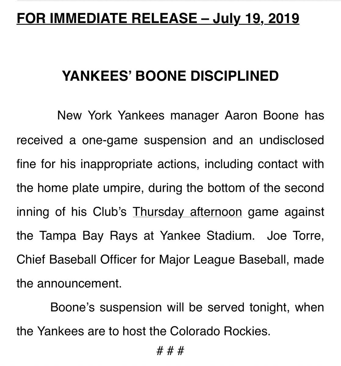 Yankees Manager Aaron Boone Suspended After Epic Tirade