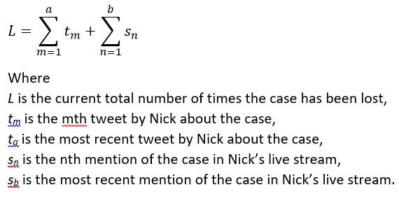 The mathematical formula expressing how many times @NickRekieta has lost the case. Also, C code -- with appropriate variable definitions: If (Nick_tweets_about_case || Nick_talks_about_case) then case_loss_count++ Im done tweeting for awhile.
