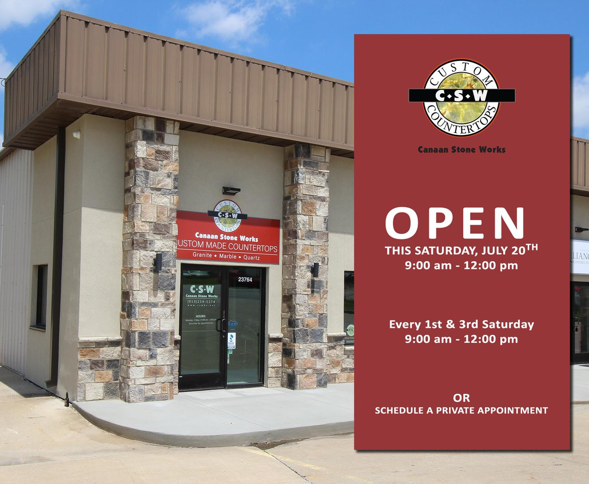 Our Shawnee, KS #SHOWROOM is open this Saturday, July 20th from 9:00 am to noon. We'd #Love to see you.