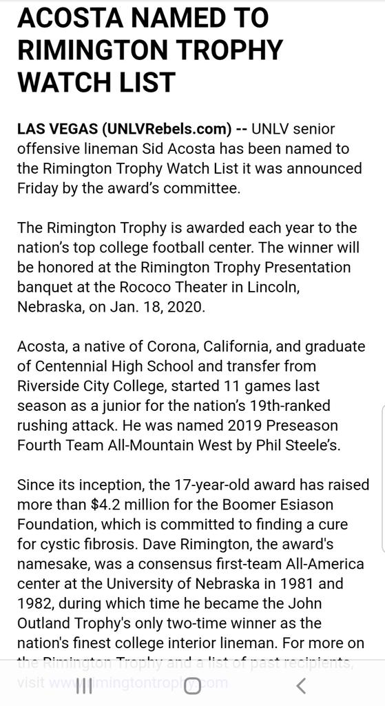#UNLVFB center Sid Acosta named to Rimington Triphy Watch List for the nations top center.