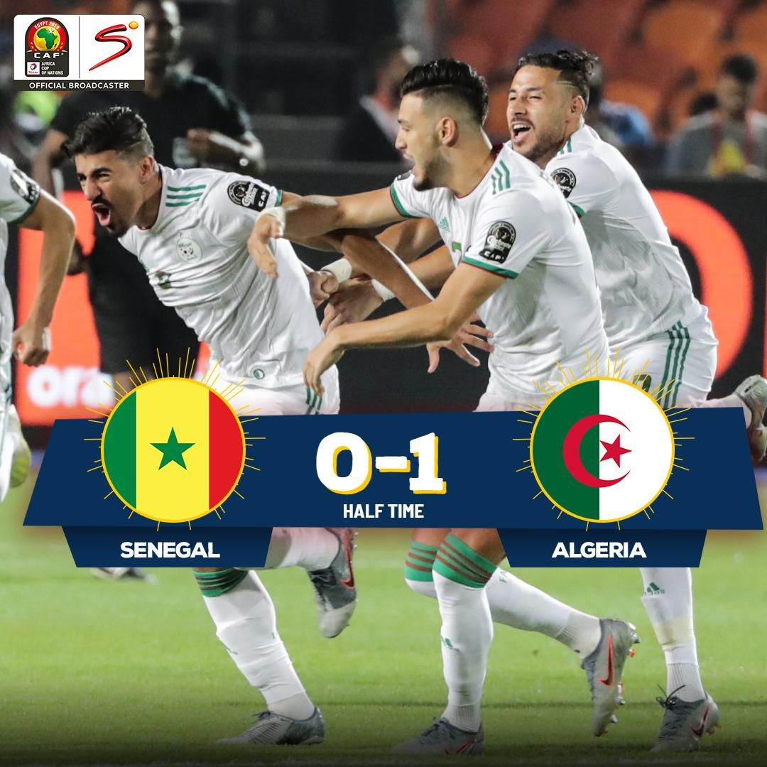 It's #LesFennecs who hold a 1-0 lead at half-time over the #TerangaLions in the #AFCON2019 final. But if the semi-finals were anything to go by, this game is far from over with second-half drama expected...<br>http://pic.twitter.com/fH2DqpKOOh