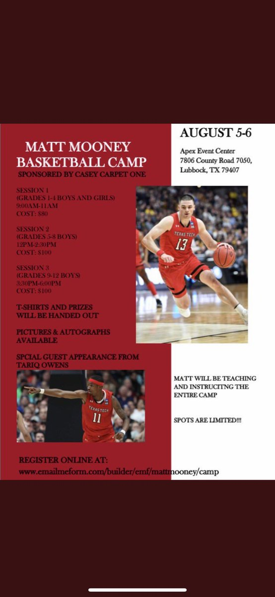 LIVE FROM LUBBOCK AUGUST 5-6!!!! Matt Mooney Basketball Camp! Register While You Can. Looking Forward To See All The Great People Of Lubbock Again! See Flyer For Details or DM @MoonSwag13 . SEE YOU ALL SOON #wreckem #gunsup<br>http://pic.twitter.com/iSNTtCcViR