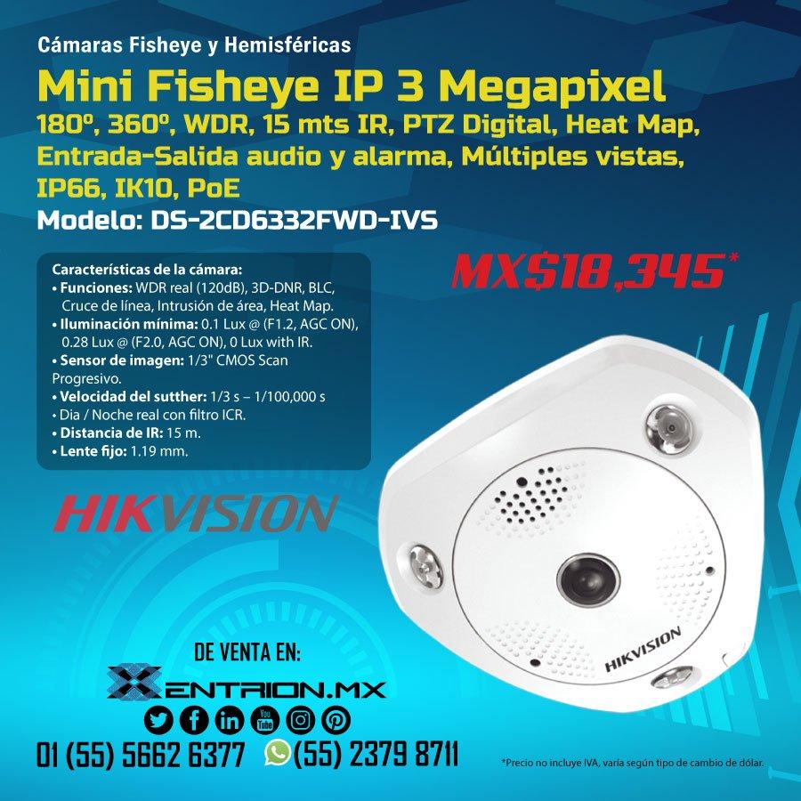 Finalizando la semana, te traemos el Mini Fisheye IP 3 Megapixel de la marca #Hikvision. Contáctanos para más información #PTZ #WDR #Entradaysalida #Audio #Alarma