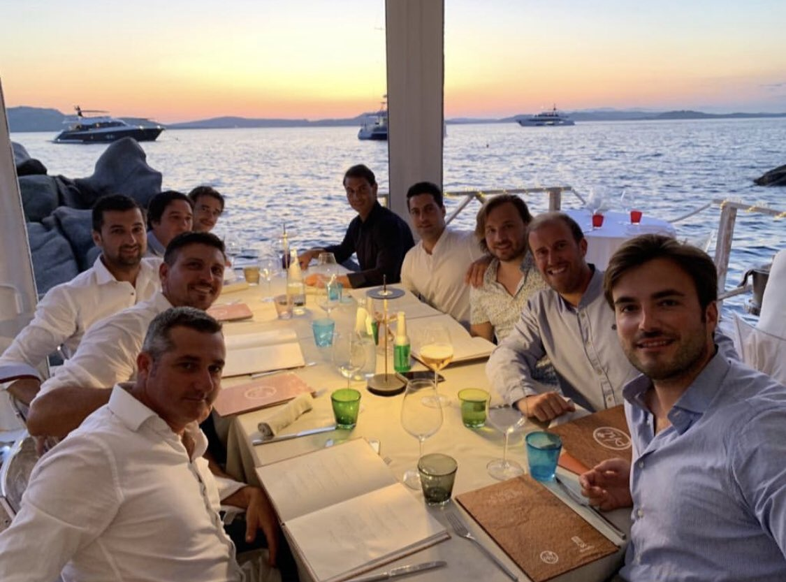 Finally! There he is enjoying his vacation in the Mediterranean (presumably still in Sardinia) with his buddies. #RafaelNadal