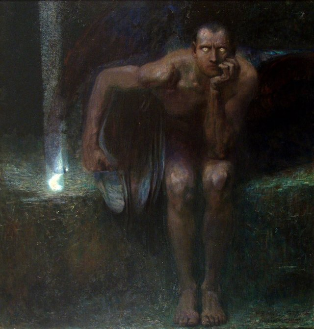 Lucifer (1890) by Franz Stuck (1863-1928). #Satan #GermanArt #Gothicpic.twitter.com/HjoBATWveH