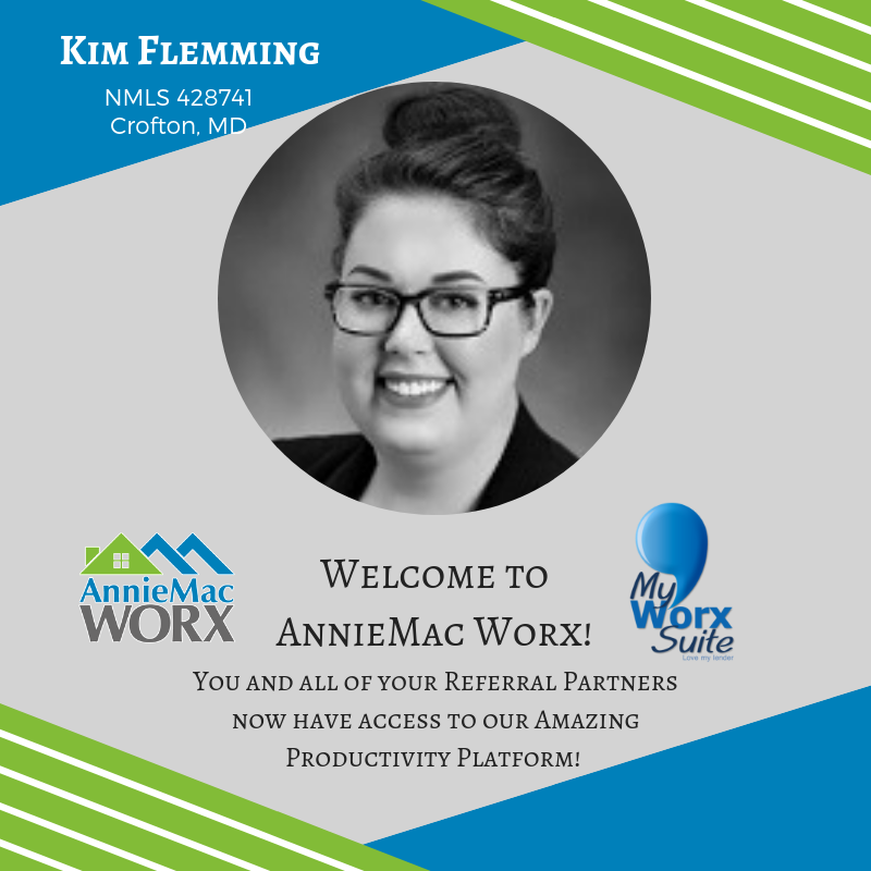 AnnieMac Nation, please welcome our newest Loan Officer Kim Flemming! What is your favorite part of Worx that you share with your referral partners? #anniemac #anniemacworx #anniemacnation #productivity #platform #agent #broker #loanofficer #mortgage #myworxsuite<br>http://pic.twitter.com/MQRcK1vsfw