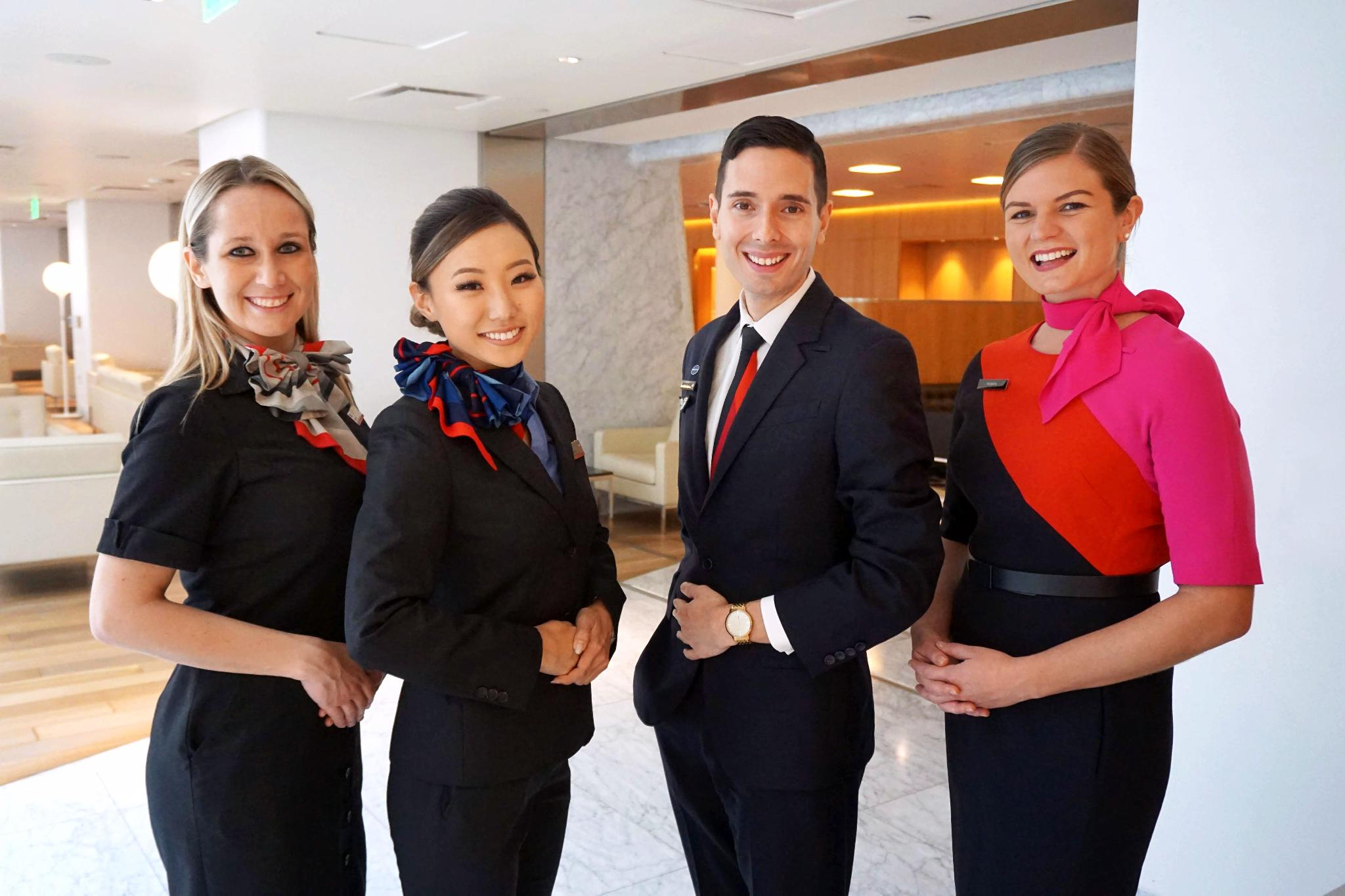 Crew from Qantas and American posing as a happy family (Image via American Airlines)