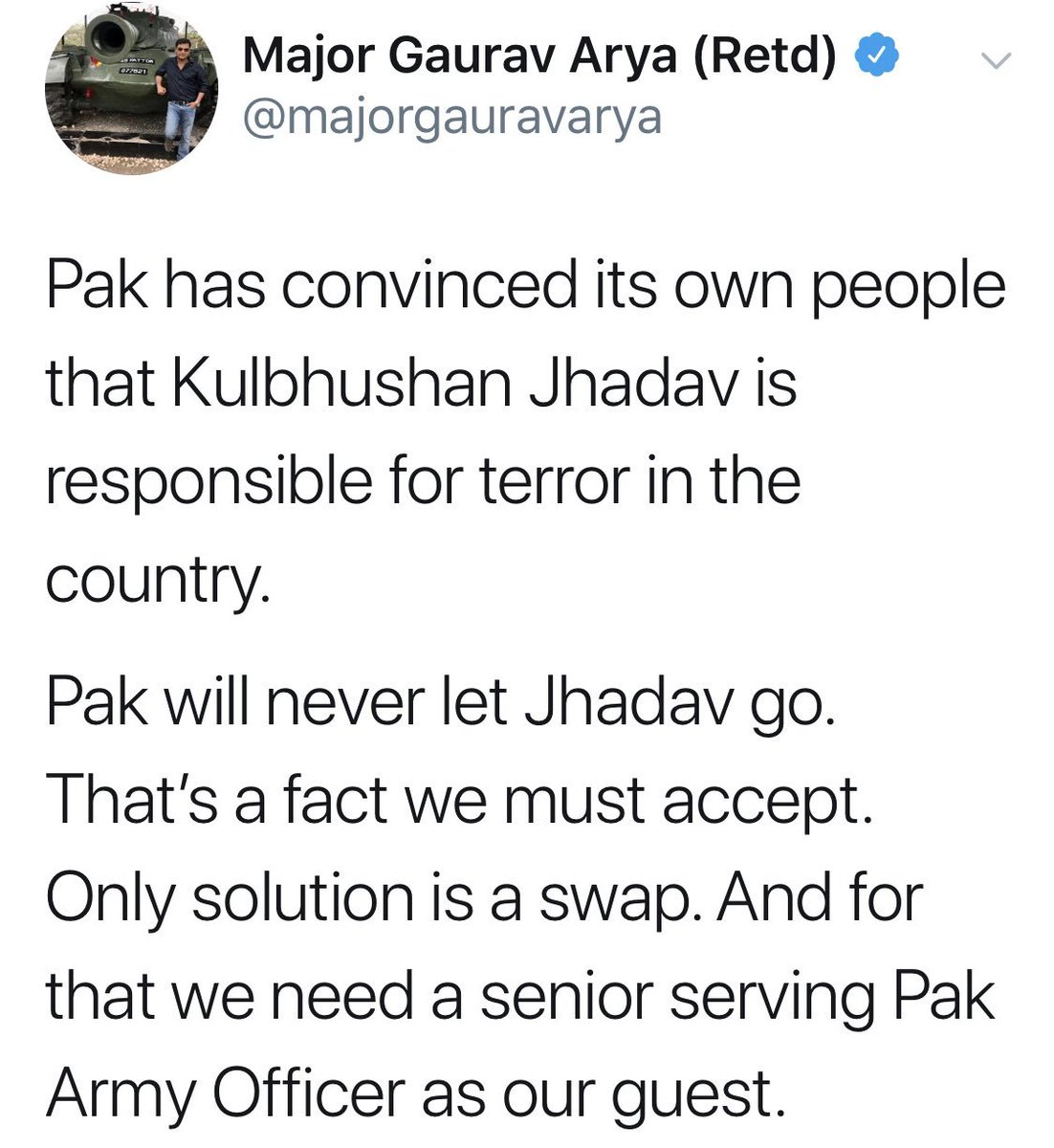 Assessment about Pak & it's people for spy terrorist Kulbhoshan is correct. Acknowledgment of picking & keeping our retd Col speaks lack of your values. No wonders, we know u. Before next venture do consult KBJ & Abhi. Your expressions validate equation btw ur rank & retd status.