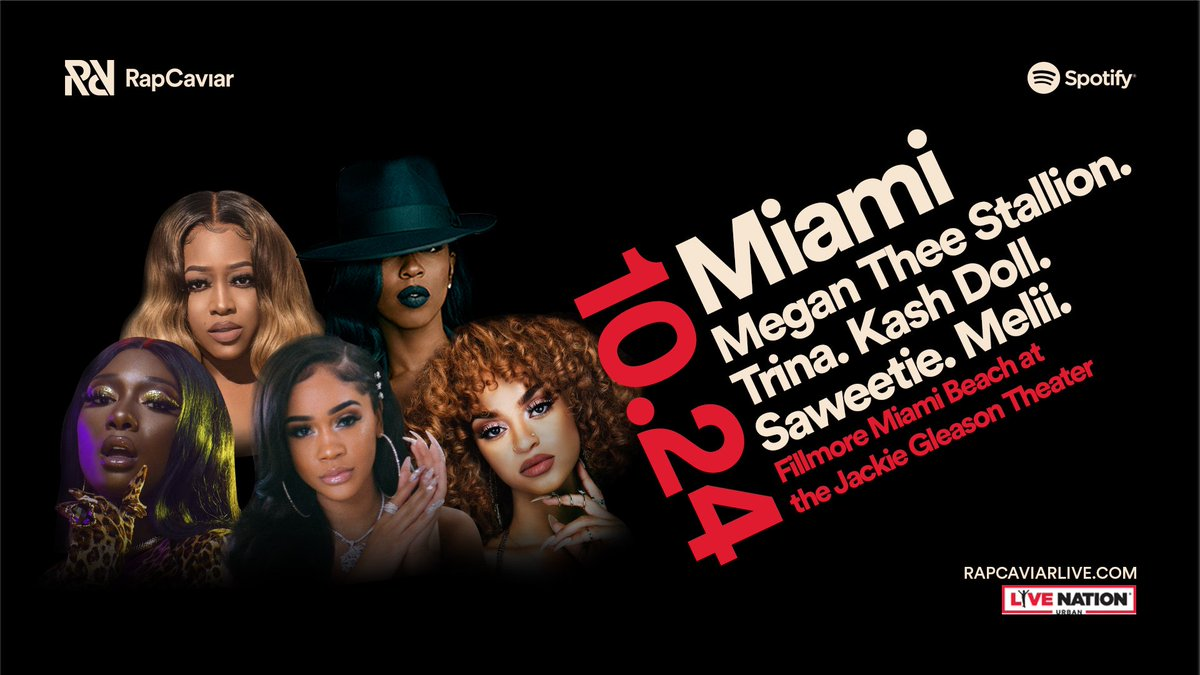 A whole Hot Girl concert 🔥  Get tickets to see Megan Thee Stallion, Trina, Kash Doll, Saweetie and Melii at #RapCaviarLive in Miami right now 👉 http://RapCaviarLive.com