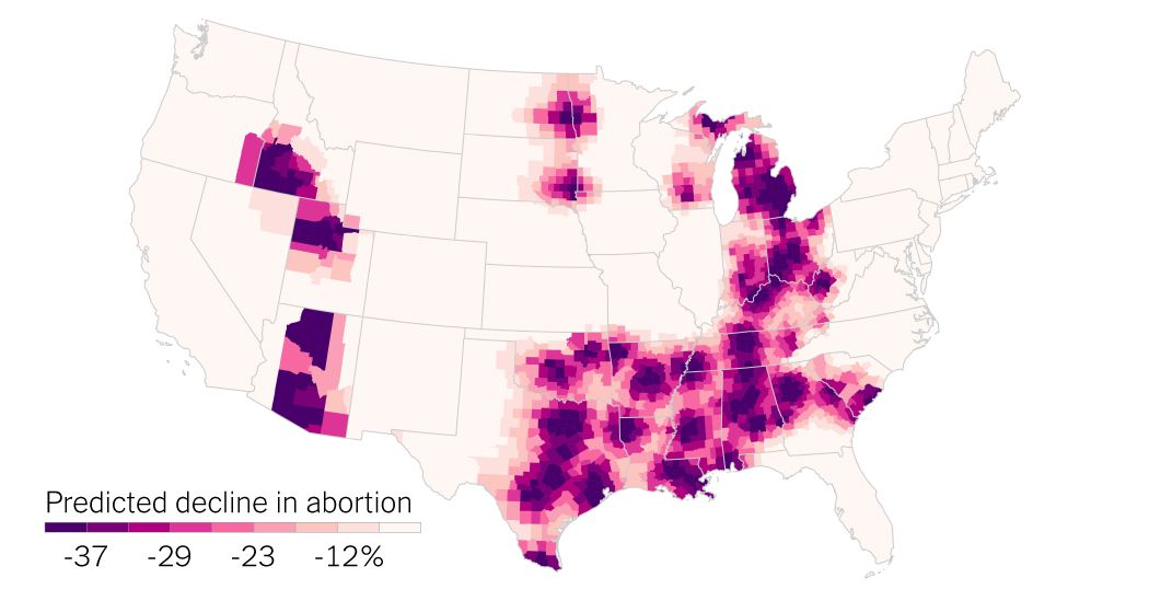 This interactive map from @nytimes shows – county by county – the distances patients would have to travel to access abortion care if #RoevWade is overturned.   https:// buff.ly/2XZD4TD      #abortionishealthcare<br>http://pic.twitter.com/vigoZRDMxh