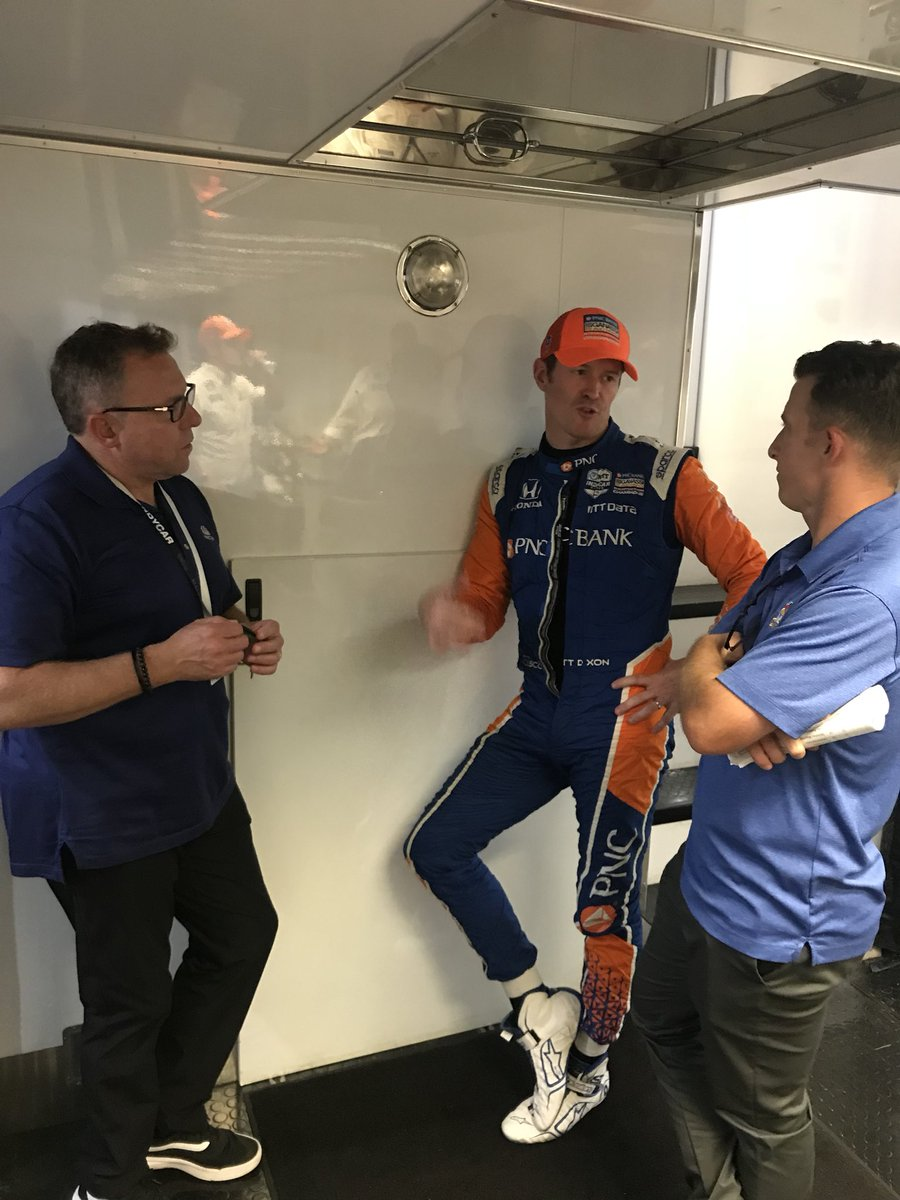 Meeting of the minds here in the @CGRindycar truck. Amazing to watch @AJDinger transition to a serious broadcaster, asking all the right questions. @leighdiffey is the ultimate pro. Together with @paultracy3 the @IndyCaronNBC team do a great job.