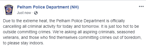 Now this is a heat alert I can get behind, from @PelhamNHPolice  @boston25 <br>http://pic.twitter.com/AeJP4OSyqv