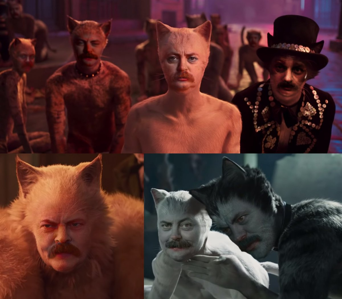 Cats (2019) but every character is played by @Nick_Offerman