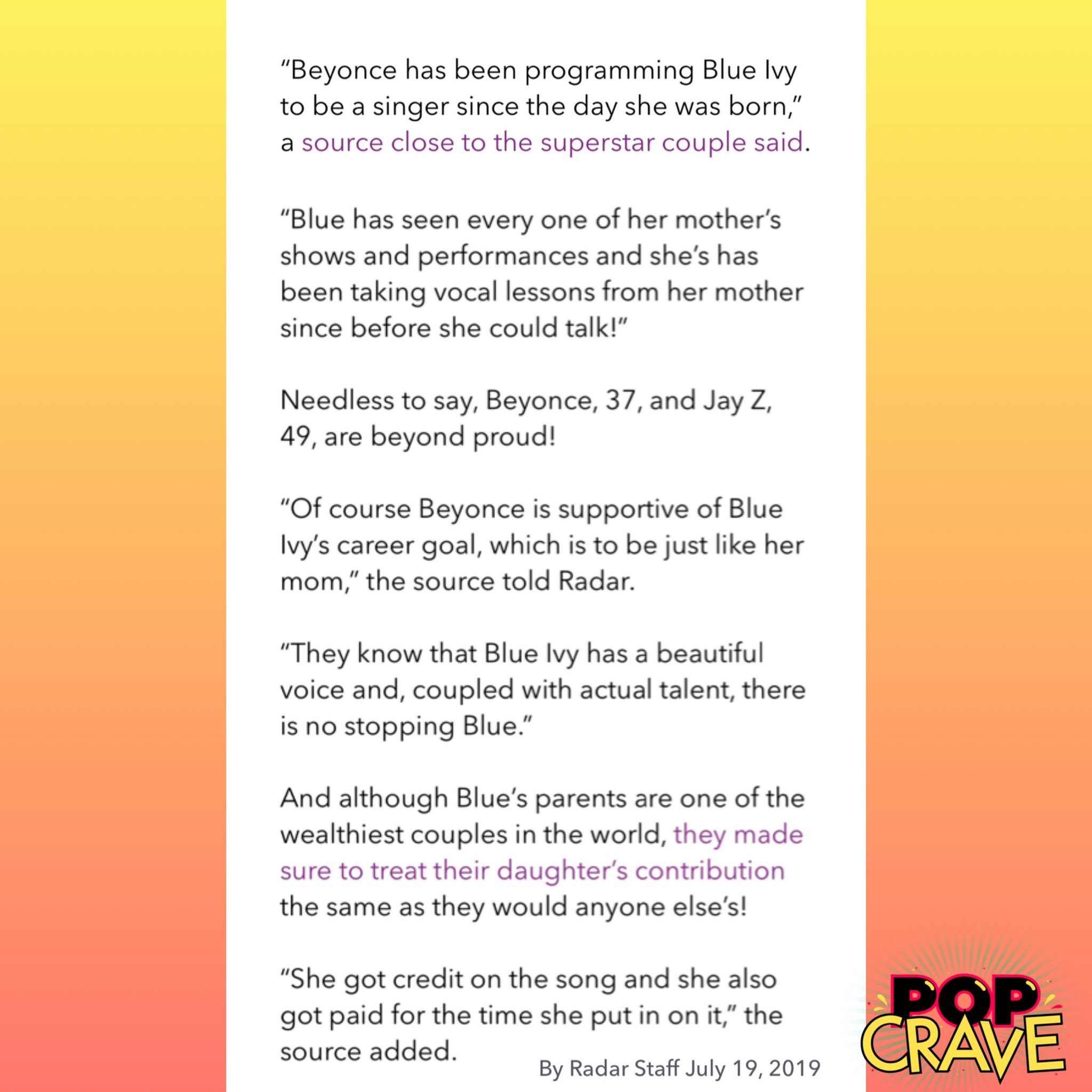 Beyoncé 'programming' Blue to be a superstar - Beyond