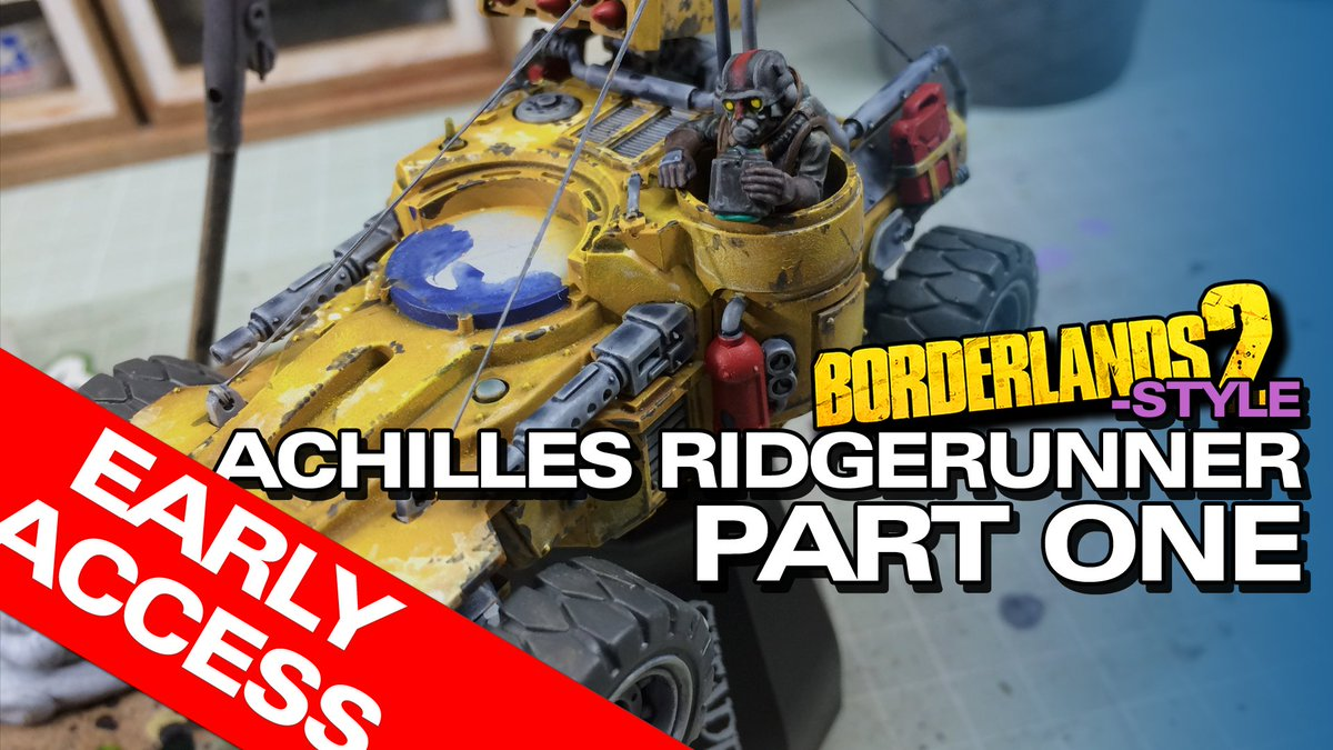 Despite being laid up, I have been able to complete the first episode of the Achilles Ridgerunner Borderlands Style test paint job, now available ad-free in Early Access for patrons - go watch!  https://www.patreon.com/posts/28505968 #Borderlands2 #warhammer40k #PaintingWarhammer #tabletopgames